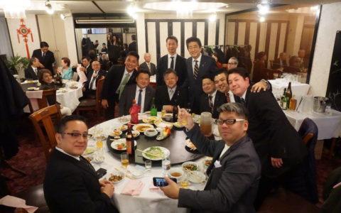 自民党沖縄県連の懇親会に立ち寄られた安倍晋三総理と